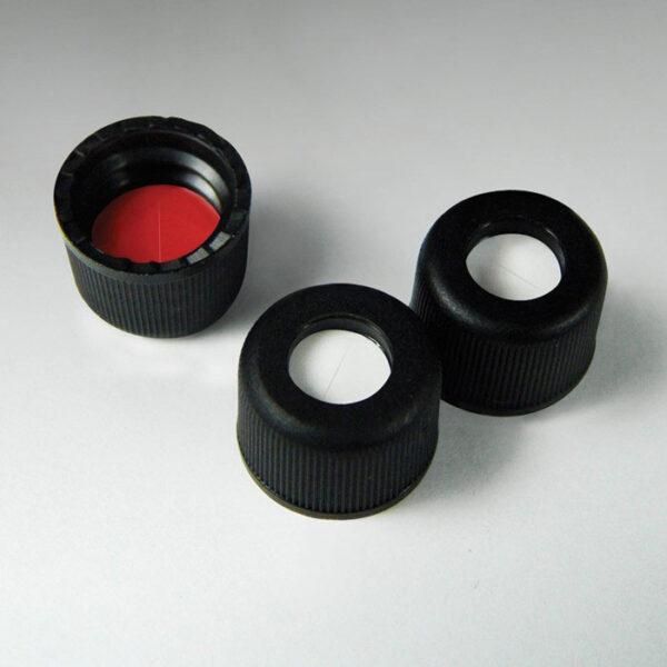 20028SL-CASE Pre-Assembled 8mm Black Standard Screw Caps with Pre-Slit Silicone/PTFE Liner