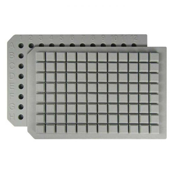 29660 Resealable PFTE/Silicone Square 96-Well Cap Mat, good with aggressive solvents and shaking