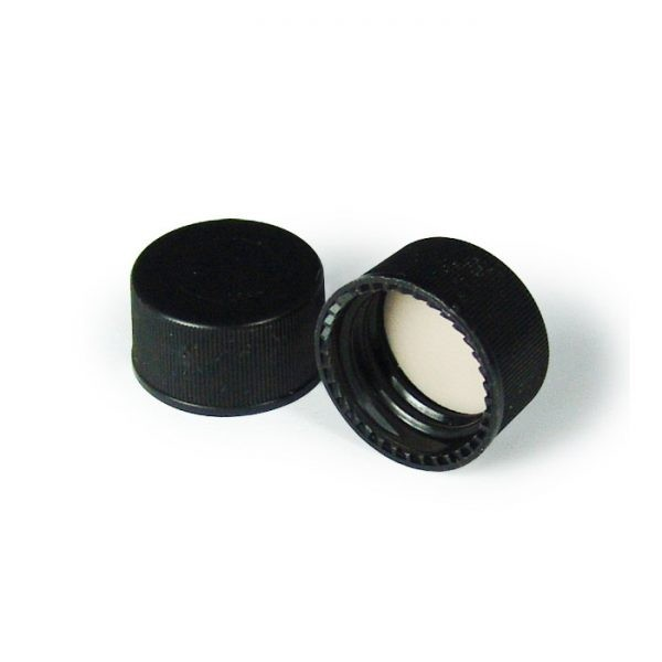 31542-CASE 15mm Solid Black PP Screw Caps with PTFE/F217 Liners