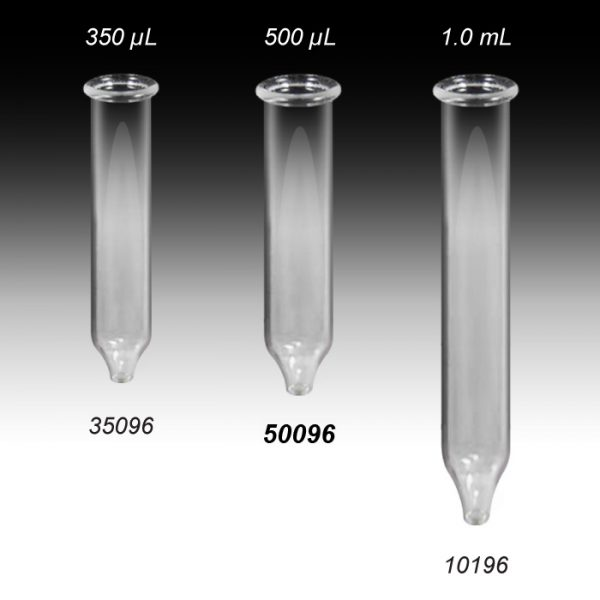 50096 500µL Clear Conical Glass Inserts