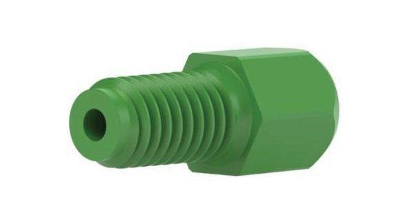 57652 PEEK® Super Flangeless Short Hex Nut, 10-32 Flat-bottom Port