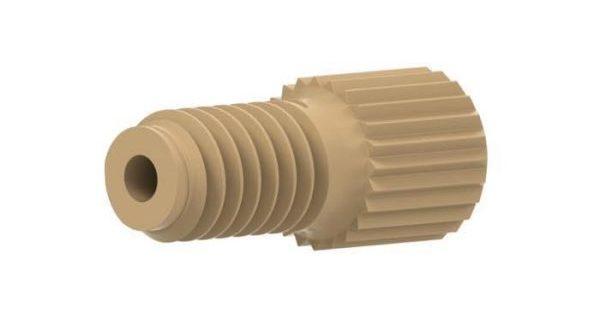57653 PEEK® Super Flangeless Short Knurl Nut, 10-32 Flat-bottom Port