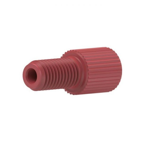 """59202X Delrin® 1/4-28 Flangeless Male Nut for 1/16"""" OD Tubing, Red"""