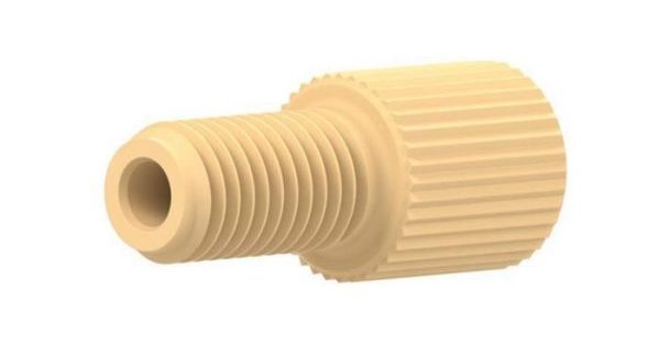"""59204 Delrin® 1/4-28 Flangeless Male Nut for 1/16"""" OD Tubing, Cream"""