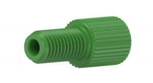 """59205X Delrin® 1/4-28 Flangeless Male Nut for 1/16"""" OD Tubing, Green"""