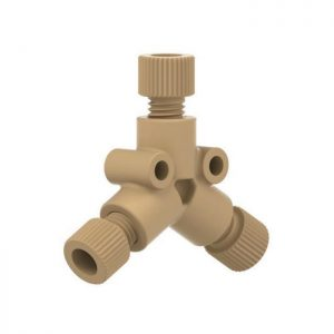 """59512 PEEK® Y Connector with .020"""" Thru-Hole for 1/16"""" OD Tubing"""