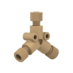 """59515 PEEK Y Connector with .125"""" Thru-Hole for 3/16"""" OD Tubing"""