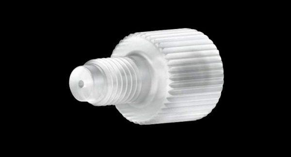 59670 Kel-F® Adapter – M6 Female to 1/4-28 Male