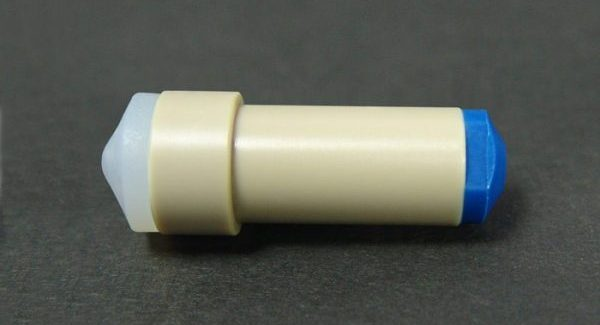 "59722 PEEK® Cross with .020"" Thru-Hole for 1/16"" OD Tubing"
