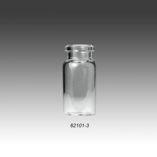 62101-3 20mm, 10mL, 23 x 46mm Clear Borosilicate Glass Crimp Head Space Vial with Beveled Top and Flat Bottom