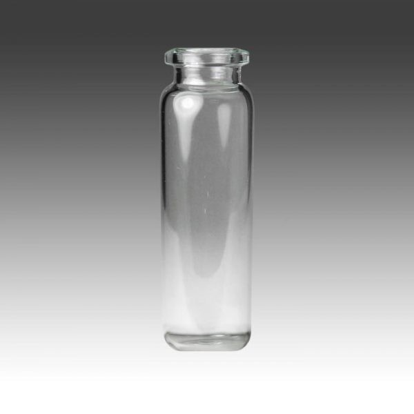 20mm, 20mL, 23 x 75mm Clear Borosilicate Glass Crimp Head Space Vial with Beveled Top and Round Bottom