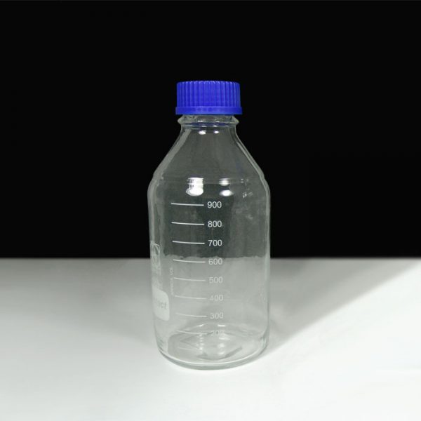805545 Canary-Safe Duran 1 Liter GL45 Lab Glass Bottle, Plastic Coated, with Stock Screw Cap & Pour Ring
