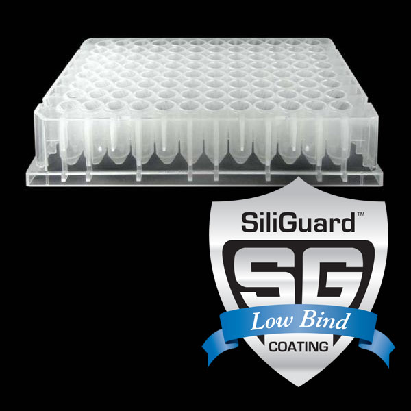 96065GC 650µL 96-Well Half-Height Collection Plate with V-Shaped Well Bottoms, SiliGuard Low Bind Coating