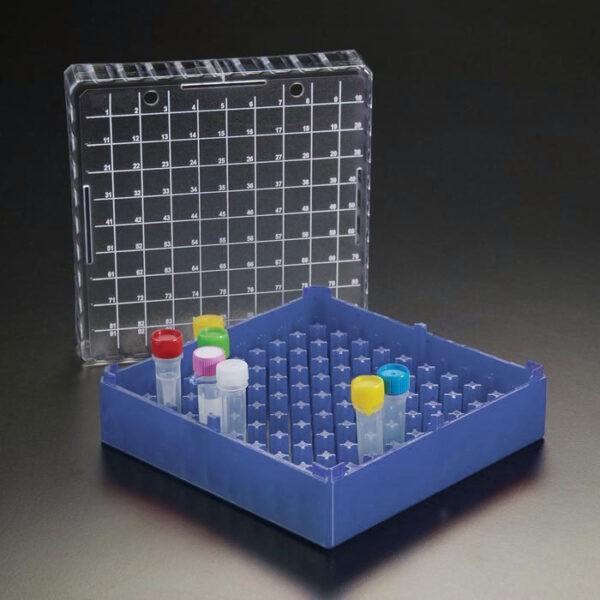 96315B 100 Position MicroCentrifuge Tube Storage Box, Blue