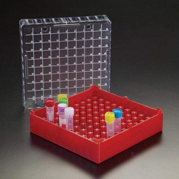 96315R 100 Position MicroCentrifuge Tube Storage Box, Red