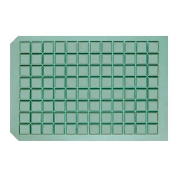 963725 Square Well Cap Mat with Molded Silicone/PTFE Liner, good for long-term storage at -80C