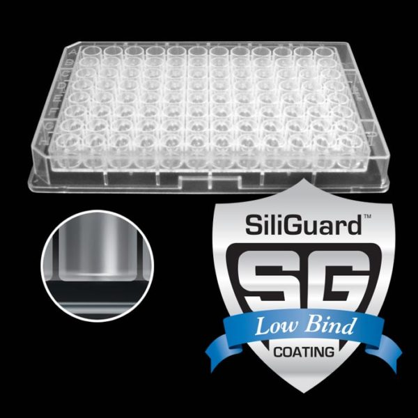 96390GC 390µL 96-Well Collection Plate with Flat Bottom Wells, SiliGuard Low Bind Coating