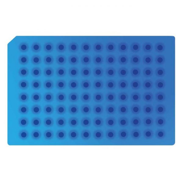 967702 Light Blue Soft Silicone/PTFE 96-Well Round Cap Mat, Suited for 2 - 8C Autosampler Temperatures