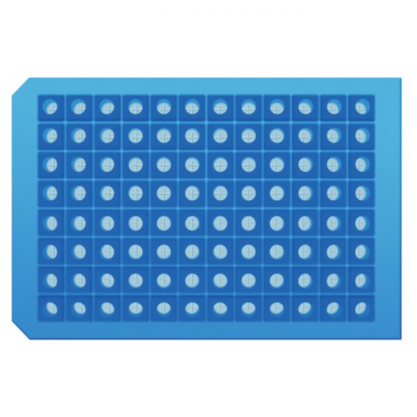 968801 Light Blue Pre-Slit 96-Well Square Cap Mat, Soft Silicone/PTFE
