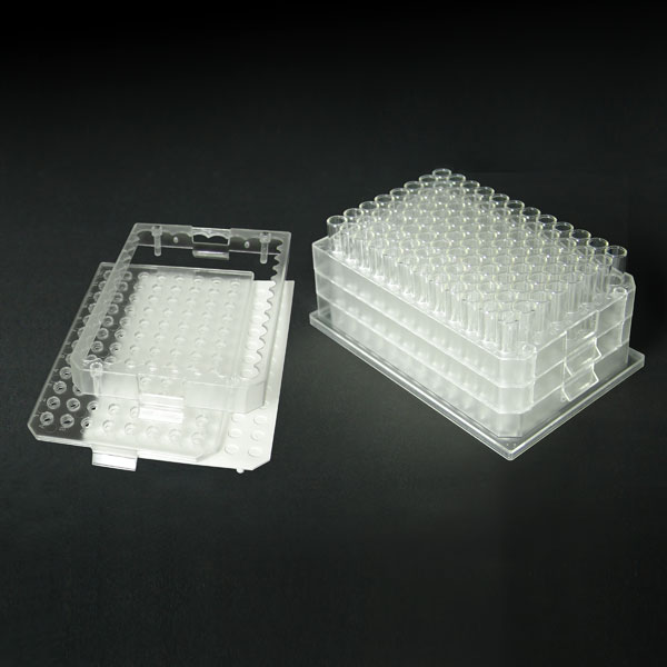 96F220-C 2.0mL 96-Well Clear Flexi-Tier Block System with Clear Conical Bottom Glass