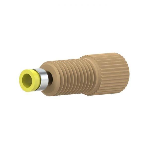 "97131X PEEK®/Tefzel® Super Flangeless Fitting for 1/8"" OD tubing, 5/16-24 Flat-bottom Port"