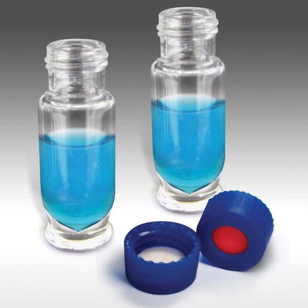 99290 Maximum Recovery - 9mm, 1.5mL Clear Tear Drop Screw Vials and Caps with Pre-Slit PTFE/Silicone Liners