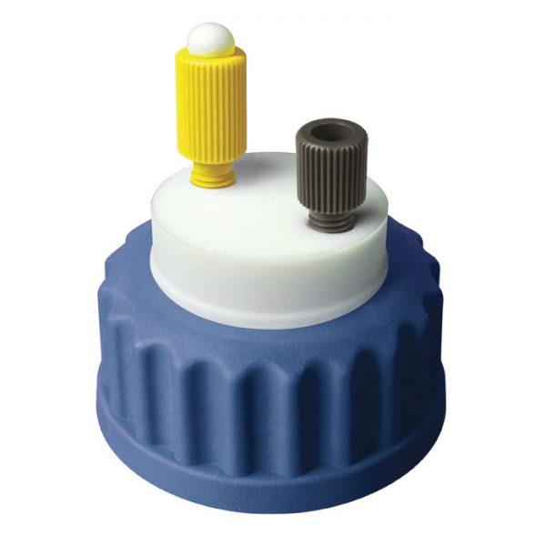 "CC1001B Canary-Safe Mobile Phase Bottle Safety Cap I, GL45, Blue 1 Standard Tubing Port for 1/8"" OD Tubing"