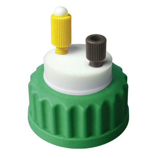 "CC1001G Canary-Safe Mobile Phase Bottle Safety Cap I, GL45, Green 1 Standard Tubing Port for 1/8"" OD Tubing"