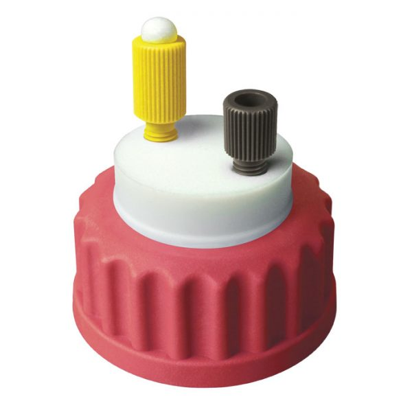 CC1001R Canary-Safe Mobile Phase Bottle Safety Cap I, GL45, Red 1 Standard Tubing Port for OD Tubing