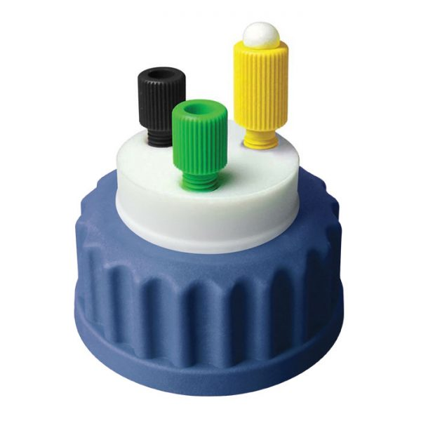 """CC1002B Canary-Safe Mobile Phase Bottle Safety Cap 2, GL45, Blue 2 Standard Tubing Ports for 1/8"""" OD Tubing"""