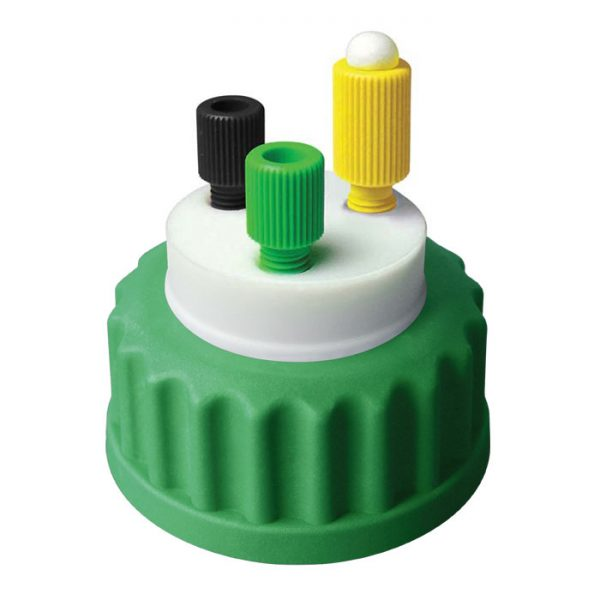 """CC1002G Canary-Safe Mobile Phase Bottle Safety Cap 2, GL45, Green 2 Standard Tubing Ports for 1/8"""" OD Tubing"""