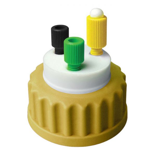 CC1002M Canary-Safe Mobile Phase Bottle Safety Cap 2, GL45, Mustard 2 Standard Tubing Ports for OD Tubing