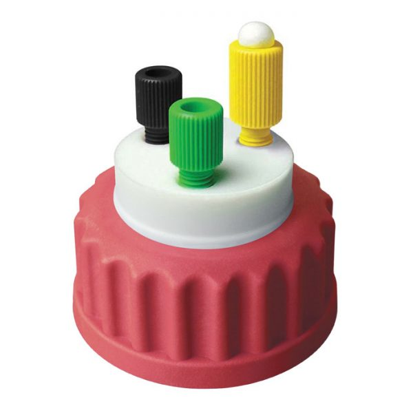 """CC1002R Canary-Safe Mobile Phase Bottle Safety Cap 2, GL45, Red 2 Standard Tubing Ports for 1/8"""" OD Tubing"""