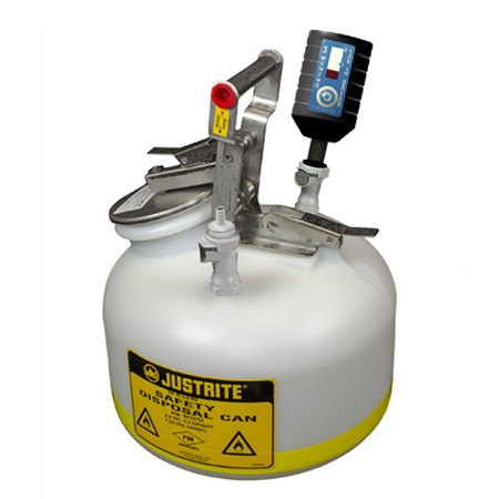 """CLPP12752 Canary-Safe JustRite® Quick Disconnect Disposal Safety Can with PP Fittings for 3/8"""" Tubing, 2 gallon"""