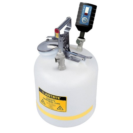 """CLPP12755 Canary-Safe JustRite® Quick Disconnect Disposal Safety Can with PP Fittings for 3/8"""" Tubing, 5 gallon"""