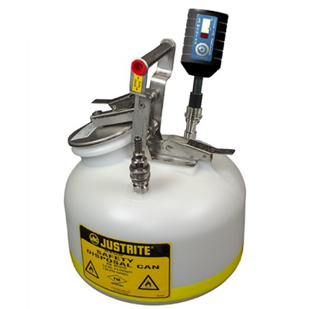 """CLTF12752 Canary-Safe JustRite® Quick Disconnect Disposal Safety Can with SS Fittings for 3/8"""" Tubing, 2 gallon"""