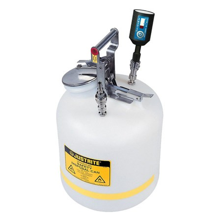"""CLTF12755 Canary-Safe JustRite® Quick Disconnect Disposal Safety Can with SS Fittings for 3/8"""" Tubing, 5 gallon"""