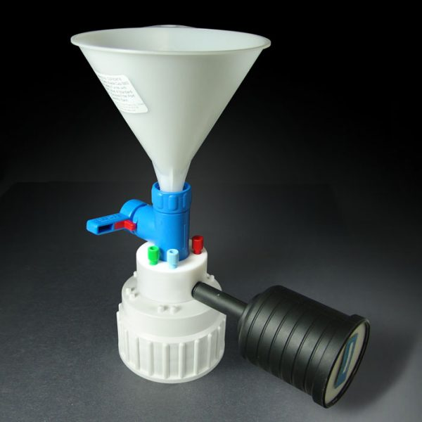 CSF83418 Canary-Safe Waste Cap, B83, with Safety Funnel with Shut-Off Valve & 4 Standard Ports