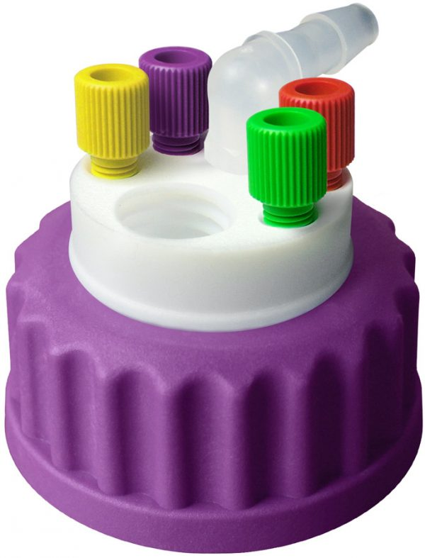 """CW45418 Canary-Safe Waste Cap, GL45, 4 Standard 1/8"""" OD Tubing Ports, 1 Port for Barbed Adapter"""