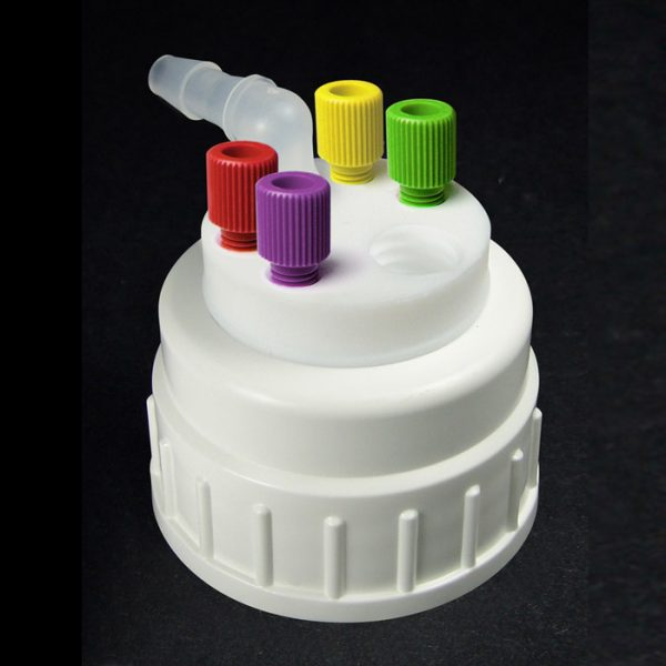CW53418 Canary-Safe Waste Cap, B53, with 4 Standard OD Tubing Ports & 1 Port for Barbed Adapter