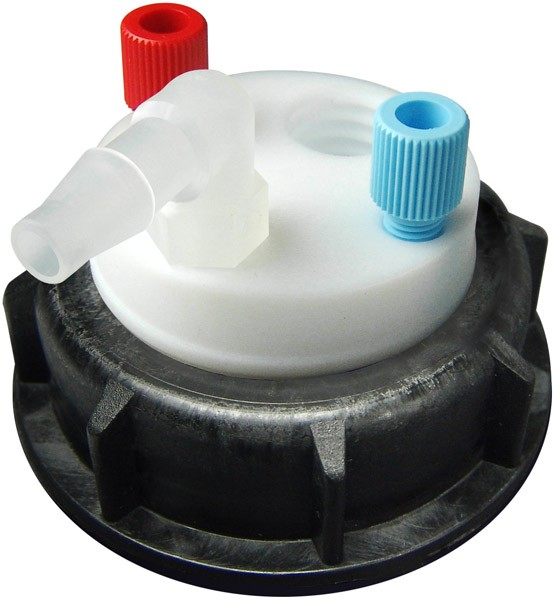 """CW55218 Canary-Safe Waste Cap, S55, with 2 Standard 1/8"""" OD Tubing Ports & 1 Port for Barbed Adapter"""