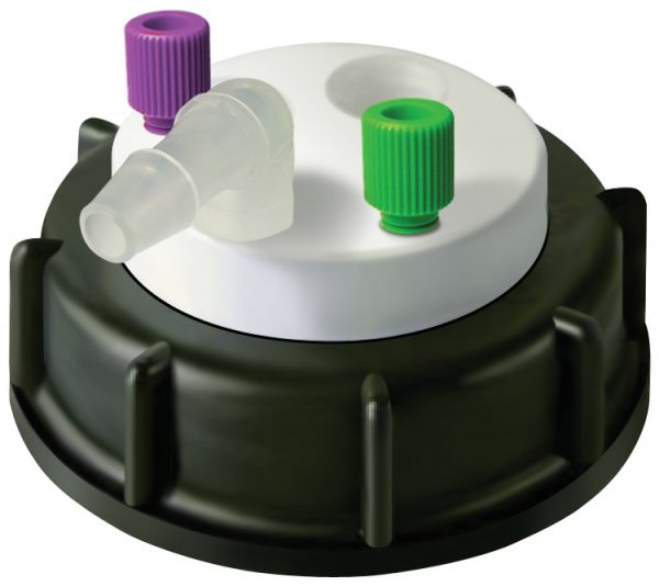 CW60218 Canary-Safe Waste Cap, S60, with 2 Standard Tubing Ports & 1 Port for Barbed Adapter