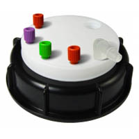 """CW90418 Canary-Safe Waste Cap, S90, 4 Standard 1/8"""" OD Tubing Ports, 1 Port for Barbed Adapter"""