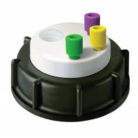 """CW60302 Canary-Safe Waste Cap, S60/61, with 3 Standard 1/8"""" OD Tubing Ports, 2 Ports for Barbed Adapters"""
