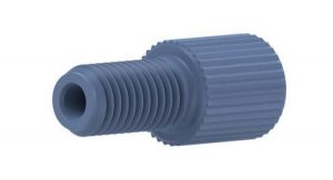 """59206X Delrin 1/4-28 Flangeless Male Nut for 1/16"""" OD Tubing, Blue"""