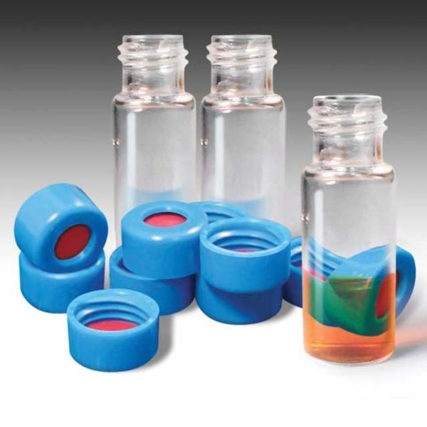 88535-CASE 9mm, 2mL Clear Wide Mouth Twist Vials and Blue Caps with PTFE/Silicone Liners